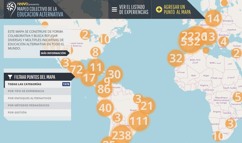 REEVO - Mapa de iniciativas de educación alternativa en el mundo